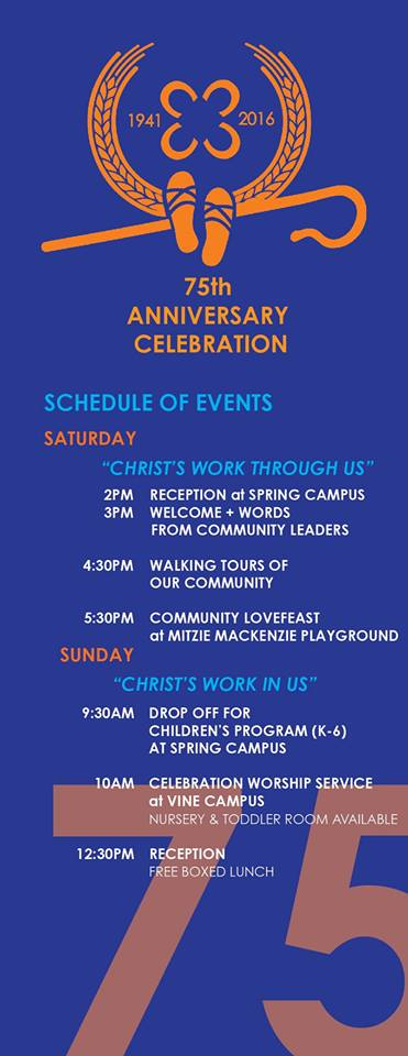 75th anniversary schedule for saturday and sunday.